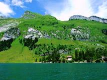 krajobraz, niebo, natura, zieleń, jezioro, góra, góry, trawa, panorama, błękit, chmury, woda, lato, widok, drzewo, chmura, łąka, Obraz Royalty Free