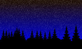 Krajobraz, noc las ilustracji