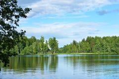 Krajobraz od brzeg piękny jezioro Zdjęcia Stock
