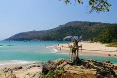 Krajobraz od Phuket widoku punktu przy Nai Harn plażą Lokalizować w Phuket prowinci, Tajlandia Fotografia Royalty Free