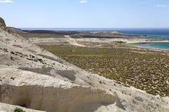 Krajobraz od wzgórza blisko Puerto Madryn, miasto w Chubut prowinci, Patagonia, Argentyna fotografia stock