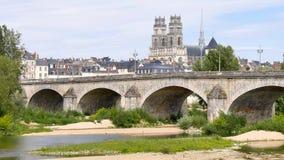 Krajobraz Orléans, francuski miasto Most i katedra zdjęcie wideo