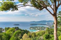 Krajobraz Phuket widoku punkt, Karon plaża, Kat plaża, Brać f Obraz Stock