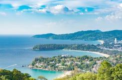 Krajobraz Phuket widoku punkt, Karon plaża, Kat plaża, Brać f Zdjęcie Stock