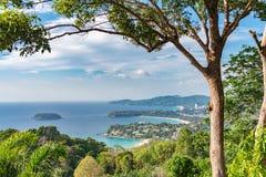 Krajobraz Phuket widoku punkt, Karon plaża, Kat plaża, Brać f Fotografia Royalty Free