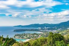 Krajobraz Phuket widoku punkt, Karon plaża, Kat plaża, Brać f Obrazy Stock