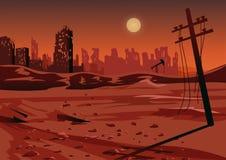Krajobraz po wojny atomowej lub środowiskowej katastrofy, wektorowa ilustracja royalty ilustracja