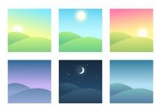 Krajobraz przy różnymi czasami dzień ilustracji