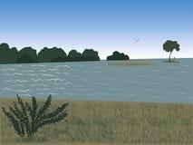 Krajobraz przy rzeką Zdjęcia Royalty Free