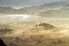 Krajobraz ranek mgła Fotografia Royalty Free