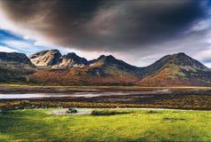 Krajobraz Scotish średniogórza wyspa Skye i obraz stock