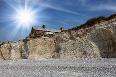 Krajobraz Siedem siostr falez w południe Zestrzela parka narodowego na angielszczyzny wybrzeżu Zdjęcie Stock
