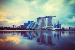 Krajobraz Singapur pieniężny okręg, Singapore linia horyzontu Obrazy Stock