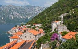Krajobraz stary miasteczko na Adriatyckim dennym wybrzeżu Obrazy Stock