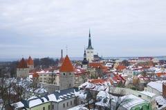 Krajobraz stary Tallinn w Marcowym chmurnym dniu Estonia Zdjęcie Royalty Free