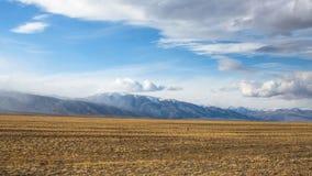 Krajobraz step w Zachodnim Mongolia i góry Natura Obraz Royalty Free