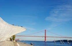 Krajobraz Tagus rzeka z 25 abril mostem Zdjęcia Royalty Free
