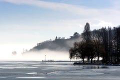 Krajobraz Tihany przy Jeziornym Balaton w zima czasie Obraz Stock