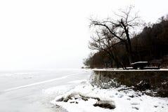 Krajobraz Tihany przy Jeziornym Balaton w zima czasie Zdjęcia Stock