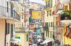 Krajobraz tradycyjna Manarola wioska Cinque Terre Włochy Fotografia Royalty Free