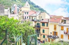 Krajobraz tradycyjna Manarola wioska Cinque Terre Włochy Obrazy Stock