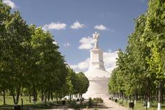 Krajobraz, Traian kolumna w Dobrogea Rumunia Obrazy Royalty Free
