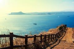 Krajobraz Udo wyspa w Jeju wyspie, Południowy Korea obraz stock