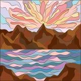 Krajobraz w mozaika stylu morzu, górach i różowym zmierzchu, Wektorowa natury ilustracja delikatni cienie royalty ilustracja
