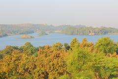 Krajobraz w naturze, kagdi podnosi up jezioro, banwara, rajathan, India Obrazy Stock