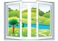 Krajobraz w otwartym okno Fotografia Stock