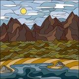 Krajobraz w stylu mozaiki morze, góry i lasowa Wektorowa natury ilustracja ciemni cienie, royalty ilustracja