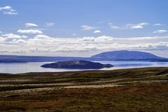 Krajobraz w Thingvellir parku narodowym w Iceland 12 06,2017 Zdjęcia Stock