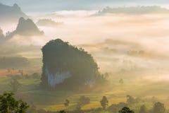 Krajobraz wschód słońca na górze przy Phu Langka, Payao prowincja, Tajlandia obraz stock