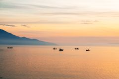Krajobraz z łodziami i morzem Fotografia Stock