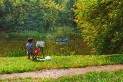 Krajobraz z żeńskim artystą ilustracji