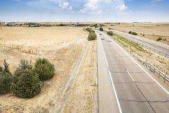 Krajobraz z autostradą w równinie na letnim dniu Obrazy Royalty Free