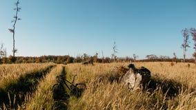 Krajobraz z czarnym bicyklem na drodze Zdjęcie Stock