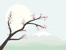 Krajobraz z czereśniowego okwitnięcia gałąź wektoru ilustracją Fotografia Stock
