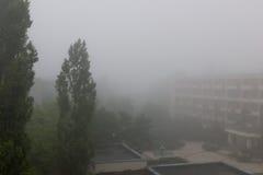 Krajobraz z domem i drzewo w mgle Zdjęcia Stock