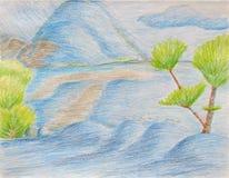 Krajobraz Z drzewami i Błękitnymi górami Zdjęcia Royalty Free