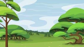 Krajobraz z drzewami i wzg?rzami w kontek?cie niebieskie chmury odpowiadaj? trawy zielone niebo bia?e wispy natury obraz royalty free