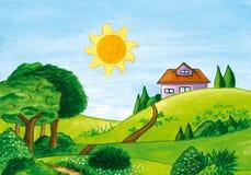 Krajobraz z drzewami, słońcem i domem na wzgórzu, ilustracji