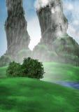 Krajobraz z dwa kolumnami Fotografia Stock