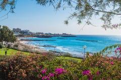 Krajobraz z Fanabe plażą przy Adeje wybrzeżem, Tenerife, wyspy kanaryjskie, Hiszpania fotografia royalty free