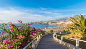 Krajobraz z Fanabe plażą przy Adeje wybrzeżem, Tenerife, wyspy kanaryjskie, Hiszpania zdjęcie royalty free