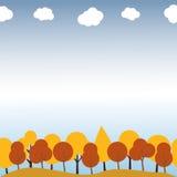 Krajobraz z jesieni drzewami bezszwowy wzoru Zdjęcie Royalty Free