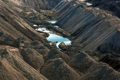 Krajobraz z jeziorem w kopalni Zdjęcie Stock