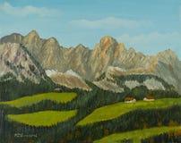 Krajobraz z lasami i łąkami przed pasmem górskim ilustracja wektor