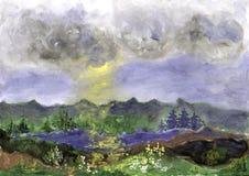 Krajobraz z lasem i jeziorem ilustracja wektor