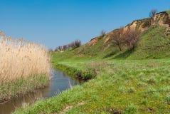 Krajobraz z małą Ukraińską rzeczną surą Fotografia Stock